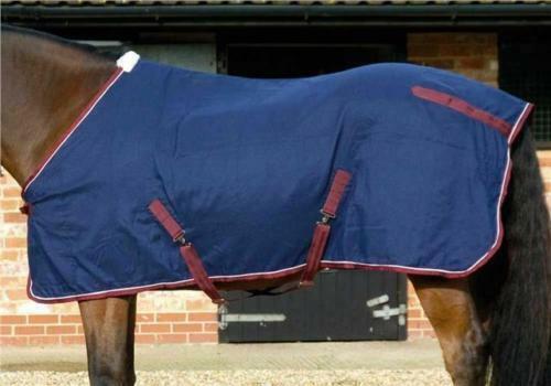 JHL Jumpers Horse Line Cotton Sheet Stable Rug - Navy Burgundy