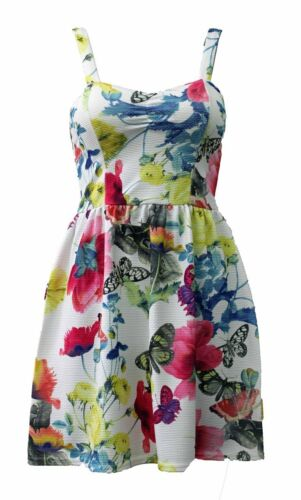 FLORAL AND BUTTERFLY PRINT SWEETHEART MINI SKATER DRESS BY KIAH