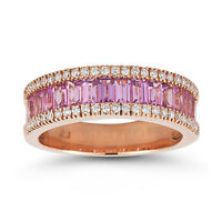 18ct Rose Gold 2ct Pink Sapphire 0.23ct Diamond Ring Size N -rrp £2895 -