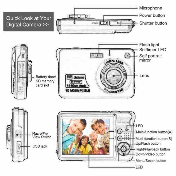 2,7 Pouces Ultra-mince 18 Mp Hd Appareil Photo Numérique Caméra Pour Enfants Cam Marchandises De Proximité