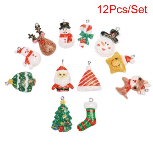 12Pcs/Set Resin Colorful Mix Christmas Charms Pendant Jewelry DIY Making Cra%fNM