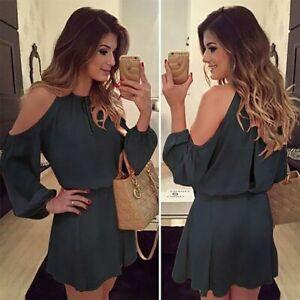 Long-Sleeve-Evening-Cocktail-Short-Women-039-s-Dress-Solid-Summer-Dresses-Boho-Party