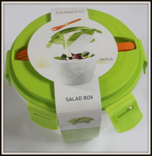 Salad Box Lunchboxes /& Bags Leak-proof Silicone Seal Dressing Container Fork 2L