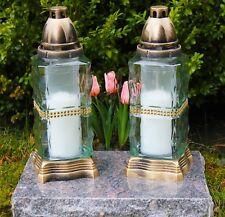 2x Grablicht 28cm Grablaterne Lampe Grableuchte Glas Grabschmuck Kerze Bronze 12