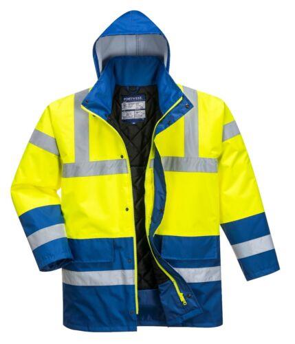PORTWEST Hi Vis Contrast Traffic Jacket Waterproof Hood Lined Padded Safety S466