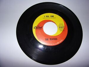 The-Beatles-I-Feel-Fine-She-039-s-A-Woman-45-Rpm-1964-Capitol-5327-VG