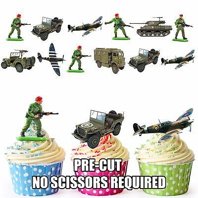 Edible Cupcake Toppers Cake Decorations Army Machine Guns PRE-CUT Military