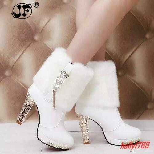 Bling Womens Fur Furry Rhinestone High Heels Casual Platform Shoes Ankle Boots