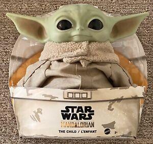 BABY-YODA-PLUSH-The-Child-Mandalorian-Star-Wars-11-034-Mattel-Vinyl-Head-IN-STOCK