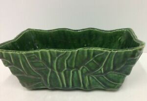 Vintage-Glazed-USA-Pottery-Green-Ceramic-Rectangular-Flower-Pot-Planter-483