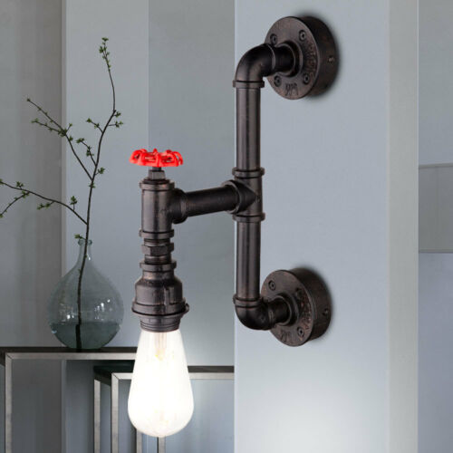 Vintage Wand-Strahler Retro Rohr Wasser-Hahn Metall Industrie Lampe schwarz gold