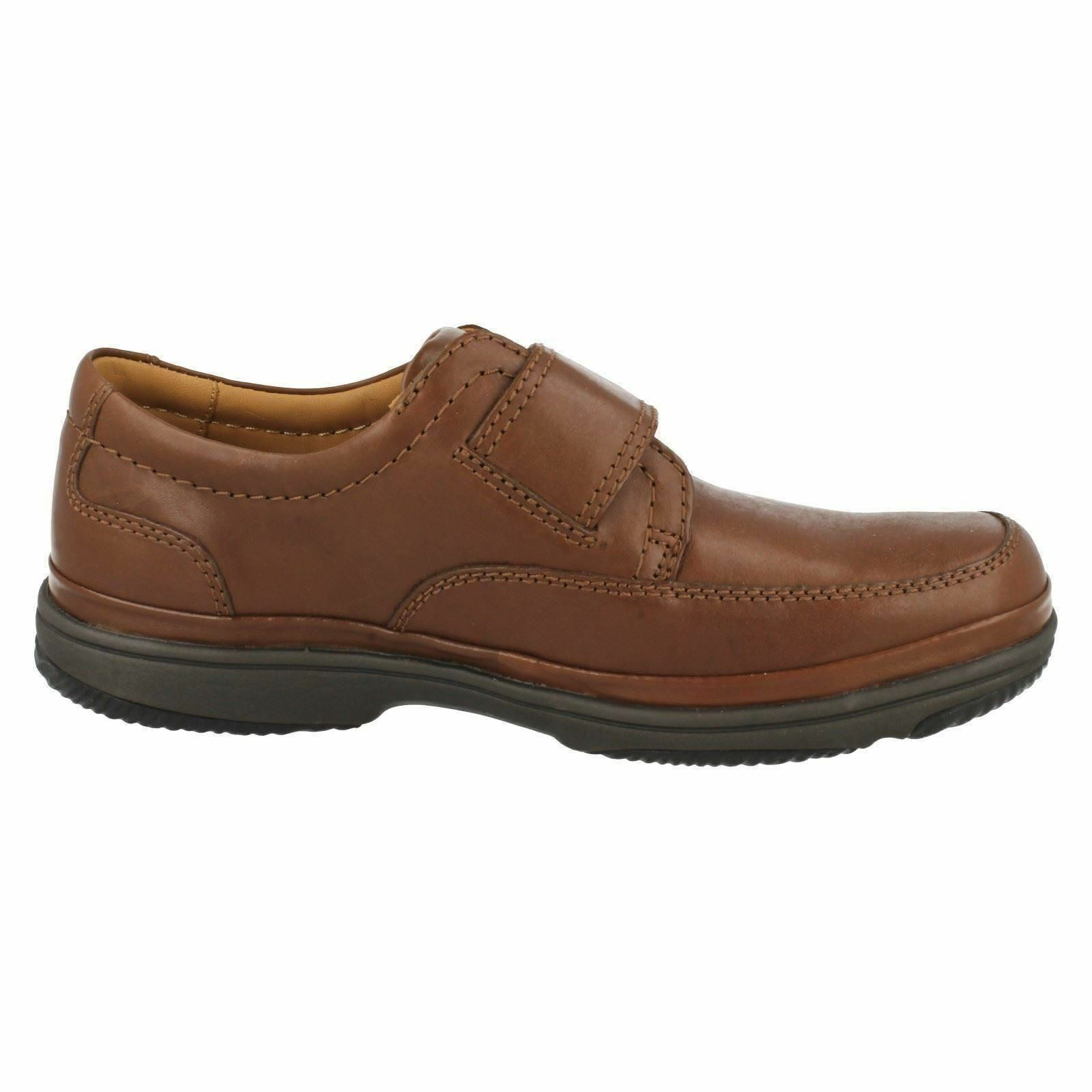 Mens Clarks Swift Turn Brown Leather Rip Tape  Shoes WIDE H Fitting