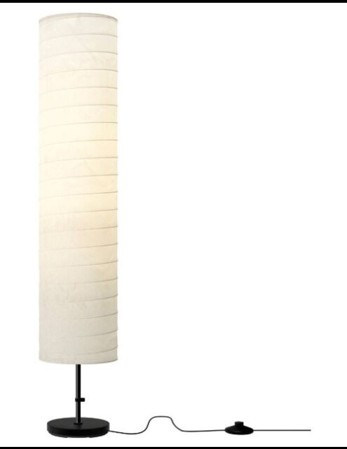 Ikea Holmo Floor Lamp Light White Rice Paper Shade Modern Contemporary