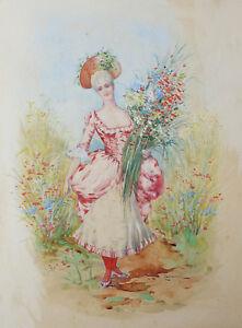 Aimable Lucienni Elégante à La Gerbe De Fleurs école Italienne ? Mode Robe Vers 1880 ?