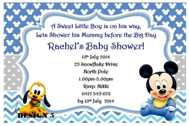 1 x DISNEY MICKEY MOUSE BOY BLUE BABY SHOWER PERSONALISED INVITATIONS + MAGNETS