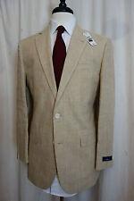 NWT Brooks Brothers 1818 Madison Tan Plaid Linen Suit 38R Retail $598