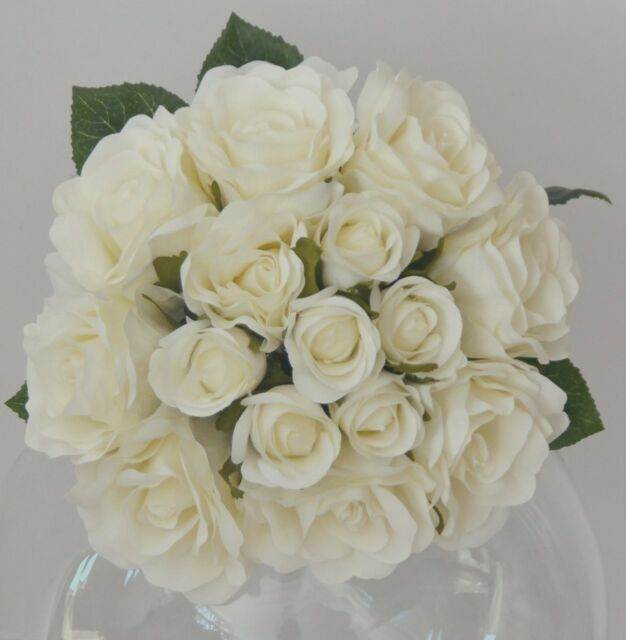 Silk Artificial White Rose Roses Bunch Wedding Bouquet Bouquets Cream Flowers