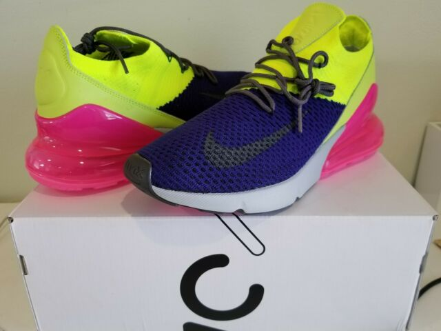 0c62b3eb68 Nike Air Max 270 Flyknit Mens Shoes Purple Gray Volt AO1023-501 Size 11.5  New