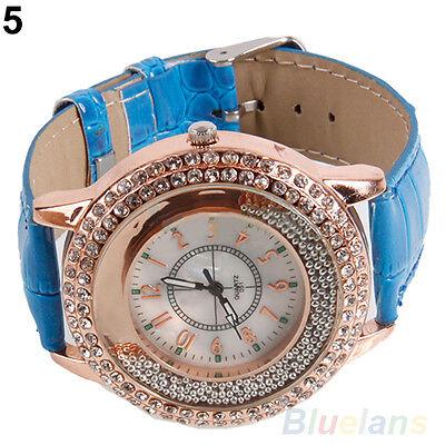 Chic Womens Round Crystal Dial Quartz Analog Leather Band Dress Wrist Watch B4CU