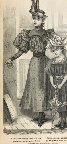 Details about  /French MODE ILLUSTREE SEWING PATTERN Aug 16,1896  MOURNING DRESSES