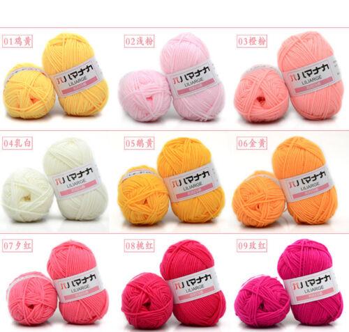 Soft Bamboo Yarn Crochet 4 Ply Milk Cotton Knitting Yarn Baby Wool 42 color LILI