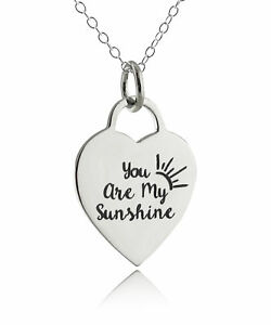 73e6988d7b8fdf You Are My Sunshine Engraved Heart Necklace - 925 Sterling Silver ...