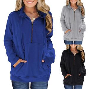 Women-039-s-Half-Zip-Sweatshirt-Hoodie-Long-Sleeve-Pocket-Casual-Loose-Pullover-Tops