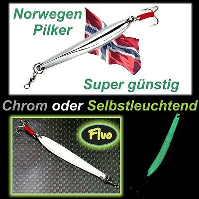 """Chrom Bananen Pilker in Bergmann Form bis 500g """" Der Pilker für Norwegen !!! """""""