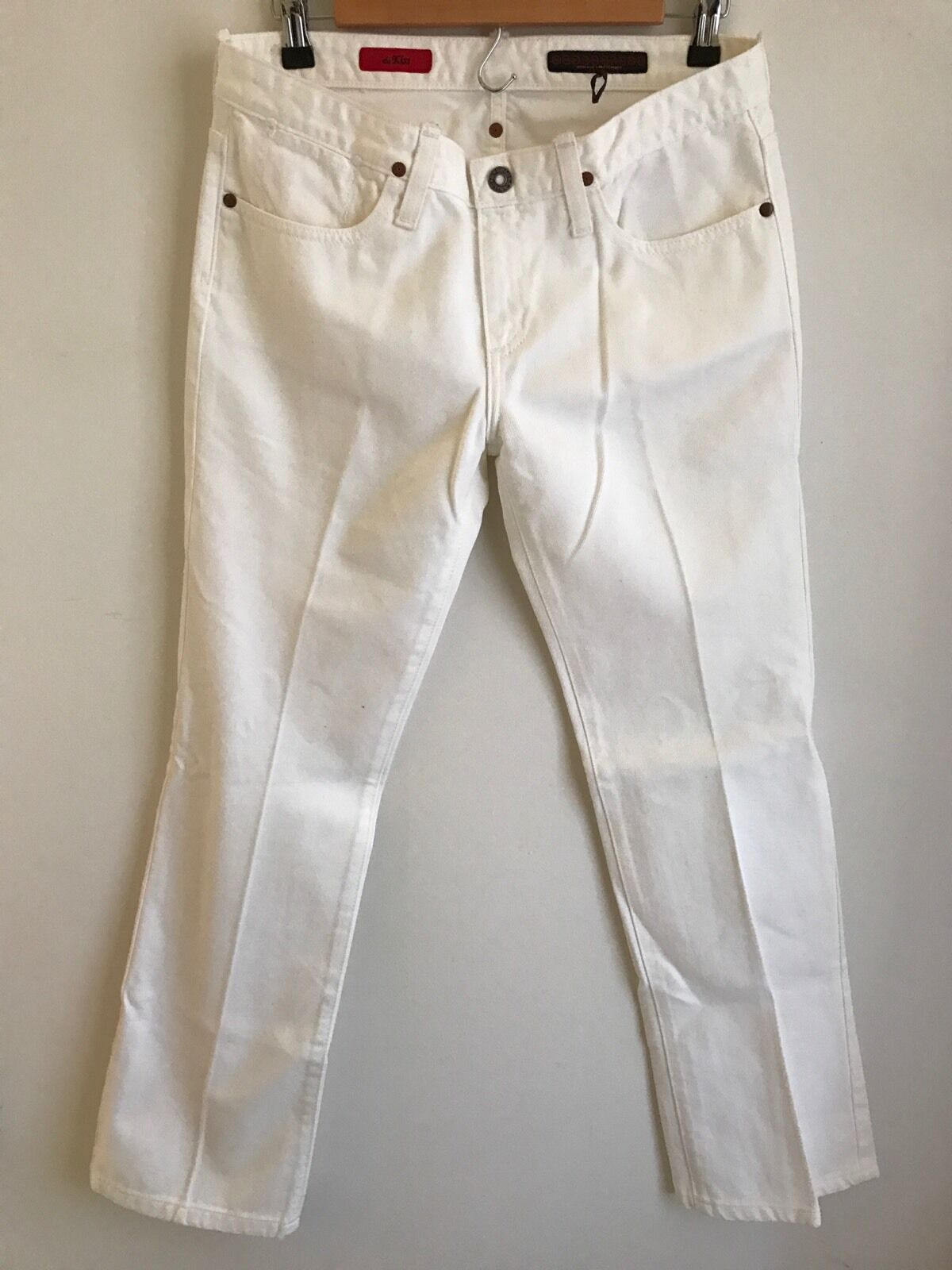 AG Adriano goldschmied Kiss White Denim Jeans  Straight Leg Low Rise Sz 28 Women