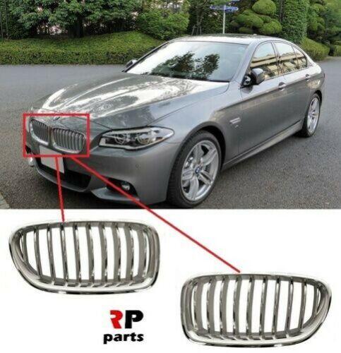 Per BMW serie 5 f10 f11 14-16 ANTERIORE PARAURTI rene GRILL CROMO//TITAN COPPIA