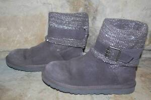 711b9412e2c Details about UGG Cambridge Boots Womens 7 Gray Suede Buckle Strap Sweater  Knit Silver Sequin~