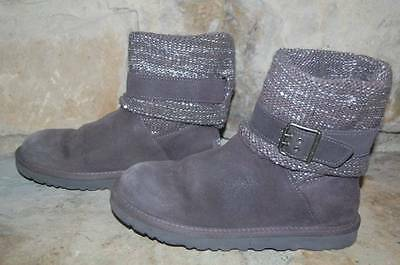 8604c5ed9e7 UGG Cambridge Boots Womens 7 Gray Suede Buckle Strap Sweater Knit Silver  Sequin~ | eBay