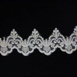 1-METRE-CREAM-IVORY-BEADED-LACE-90mm-WIDTH-BRIDAL-TRIM-TRIMMING-HL1159