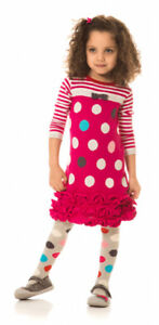 NWT-Deux-Par-Deux-Girls-039-Princess-Polka-Dot-Pink-Knit-Ruffle-Hem-Dress-Size-4