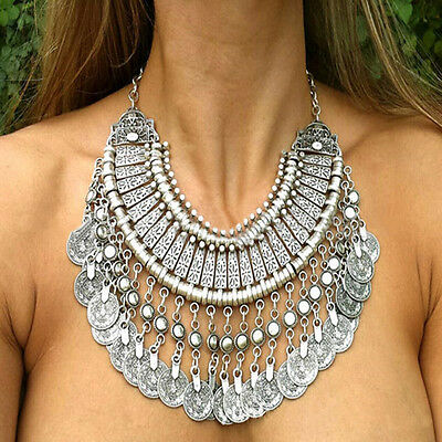 Bohemian Antalya Gypsy Tribal Chic Bib Silver Coin Collar Statement Necklace