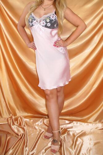 Seidig glänzendes Nachtkleid 40//42 zauberhafte Spitze Negligee in Rosa Gr