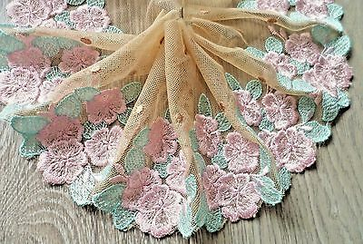 "1Y~5""~ Venise Embroidered Trim Lace Rose Bunch Dolls Dress Applique Pink & Green"