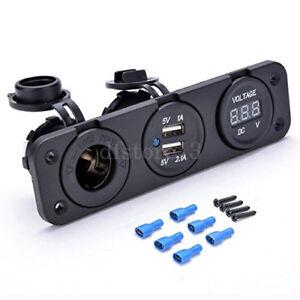 Auto-Motorrad-Zigarettenanzuender-Dual-USB-Ladegeraet-Voltmeter-12-Volt-RV-3-1-A