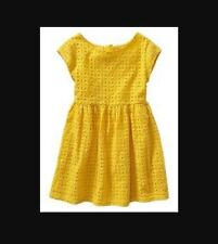 GAP KIDS Fit And Flare Yellow Eyelet Dress Small 6 7 S Summer Lined Cap Sleeves