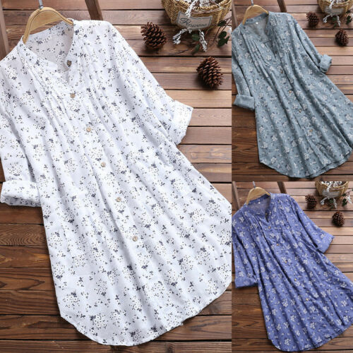 Women V-Neck Pleated Floral Tunic  Tops Blouses Casual Tunic Shirt Dresses Size