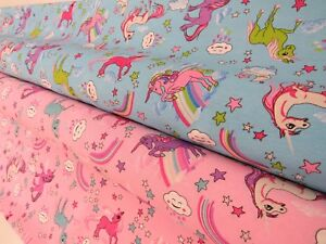 Princess-Unicorn-Rainbow-Cotton-Fabric-Curtain-Upholstery-Quilting-Crafts-pink