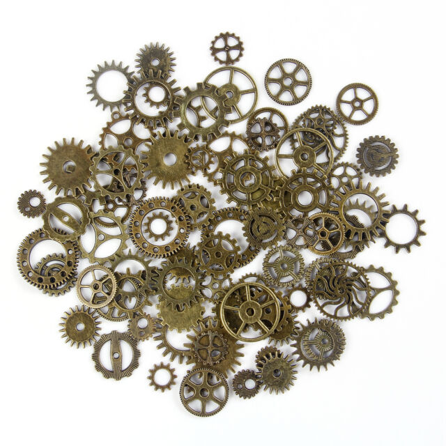 STEAMPUNK RETRO GEARS COGS CHARMS PENDANTS 30g RANDOM MIX BRONZE shape C67