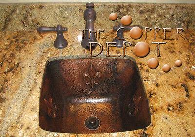 Copper Square Hammered Bar Prep Sink With Fleur De Lis