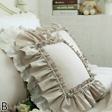 Cushion Covers Throw Pillow Case Ruffle Lace Country Floral Sofa Bed Soft Modern