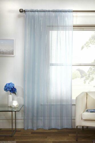 Blue Vertigo Shimmer Silver Stripe Voile Thin Net Curtain Slot Top Single Panel