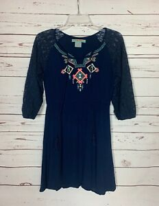 Flying-Tomato-Anthropologie-Women-039-s-S-Small-Navy-Embroidered-Lace-Fall-Tunic-Top