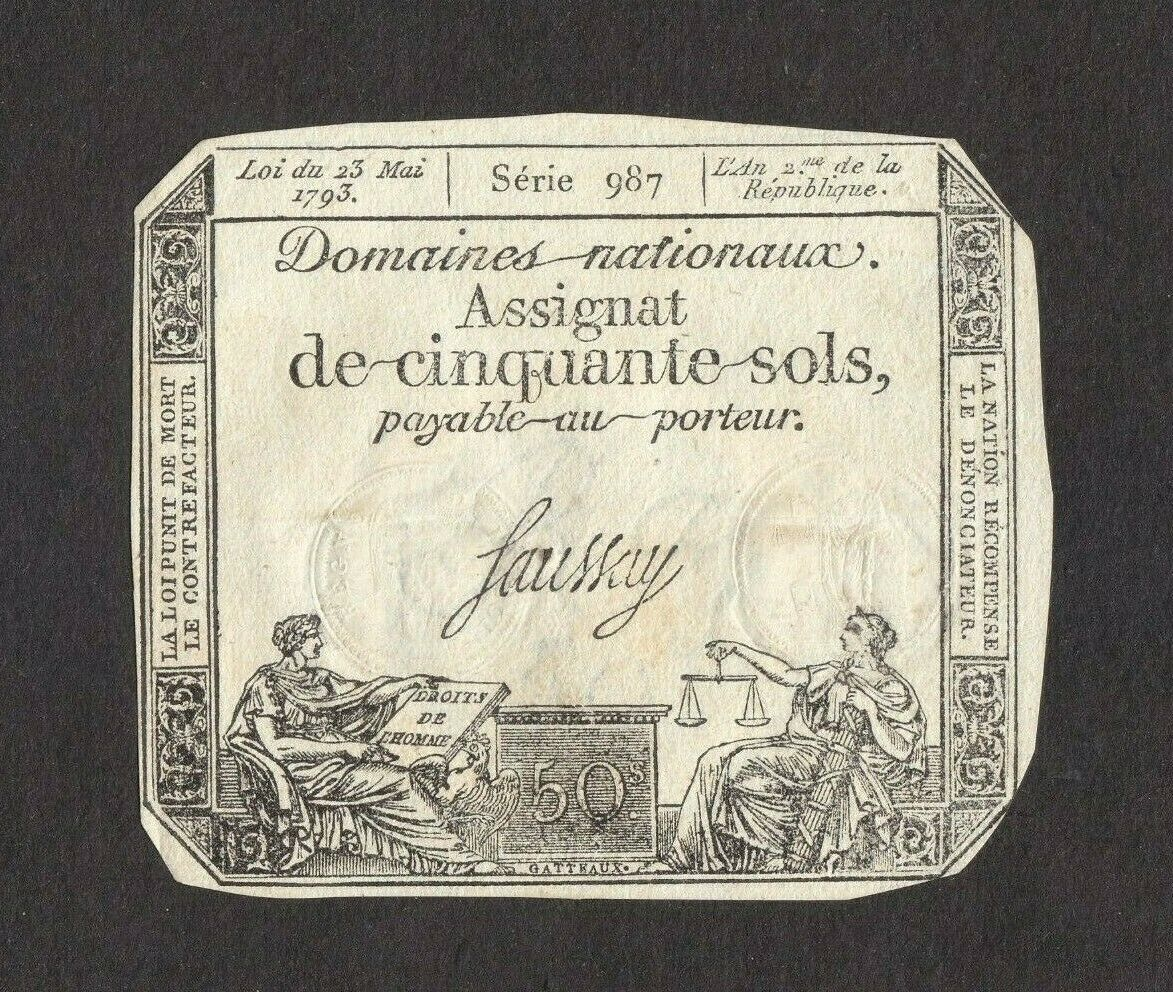 France 50 Sols P-A70 1793 F stains at back