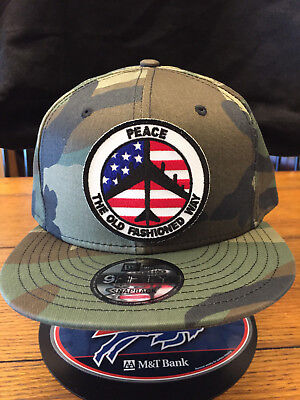 New Era NE400 Black Flat Brim Snapback Hat w// PEACE THE OLD FASHIONED WAY  B 52