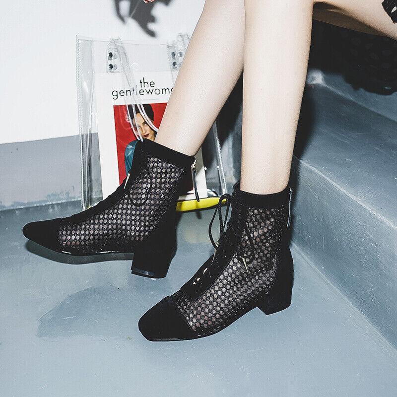 solo per te Ladies Fishing Net Net Net Kitten Heels Trendy Knee High Gothic Fashion Zip Summer scarpe  best-seller