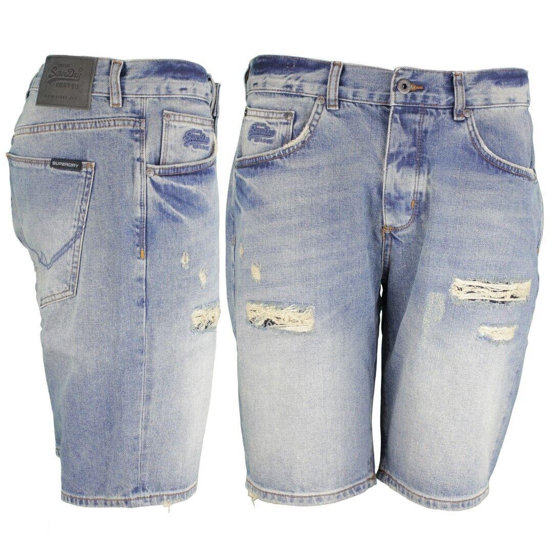 Superdry Men's Jeans Loose Shorts Destroyed Denim bluee M71001JQDS QB5